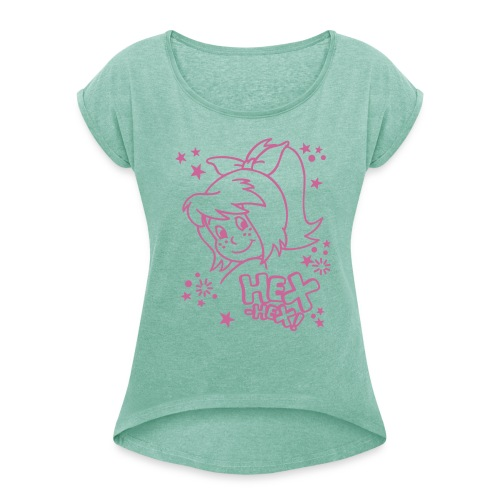 Gesicht Hex-hex Glitzer - Frauen T-Shirt mit gerollten Ärmeln