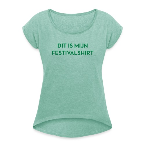 Festivalshirt vrouwen groenglitter - Vrouwen T-shirt met opgerolde mouwen