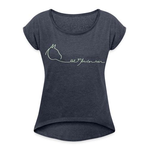 MPS LOGO Schriftzug, Boyfriendshirt ( Print White glowing in the dark) - Frauen T-Shirt mit gerollten Ärmeln
