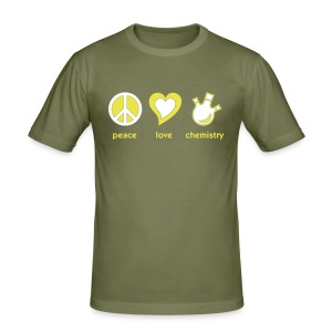 YellowIbis.com 'Chemical One Liners' Men's / Unisex Slim-Fit T-Shirt: Peace Love Chemistry (Color Choice) - Men's Slim Fit T-Shirt