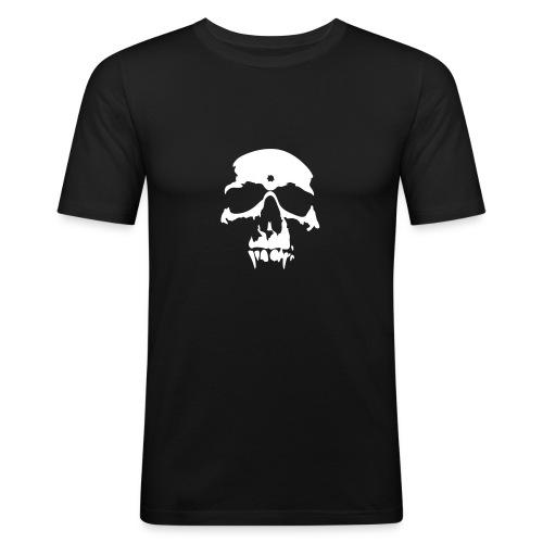 vampire skull white on black - Men's Slim Fit T-Shirt