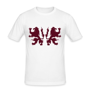 Double Lions - Burgundy red - Men's Slim Fit T-Shirt