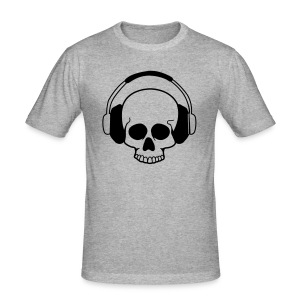 Skull Headphones, zwart flexprint - slim fit T-shirt