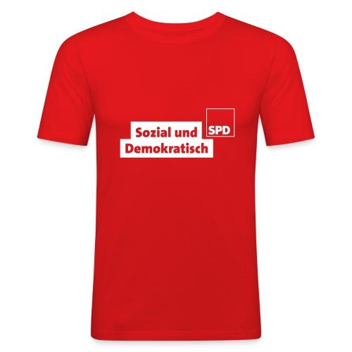 Slim Fit T-Shirt Sozial und Demokratisch - Männer Slim Fit T-Shirt
