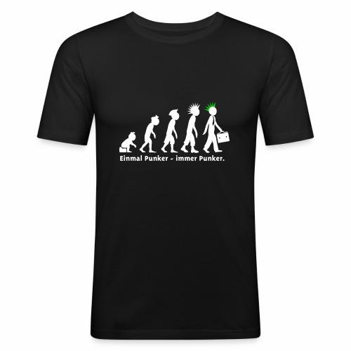 Einmal Punker / slim sw-neongrün - Männer Slim Fit T-Shirt