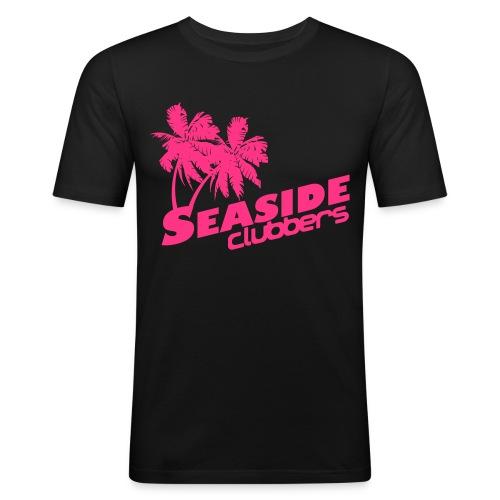 Seaside Logo Gelb Neon pink - Männer Slim Fit T-Shirt