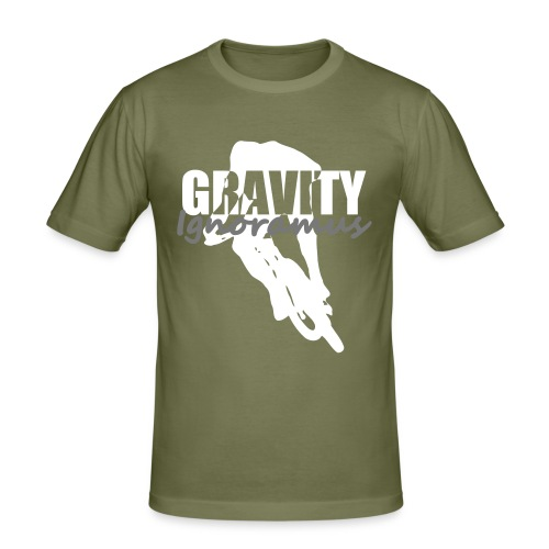 Gravity Ignoramus (Olive-White-Grey) - Männer Slim Fit T-Shirt
