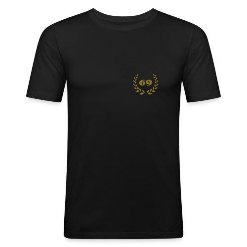 schwarzes Slim Fit-Shirt Lorbeerkranz 69 gold farbener Druck - Männer Slim Fit T-Shirt