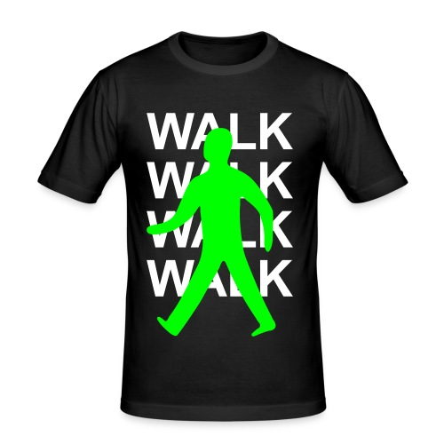 GUYS Green man walk! - WHITE TEXT - Men's Slim Fit T-Shirt