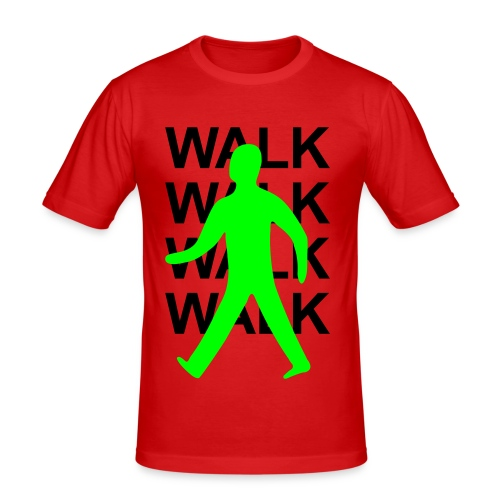 GUYS Green man walk! - BLACK TEXT - Men's Slim Fit T-Shirt