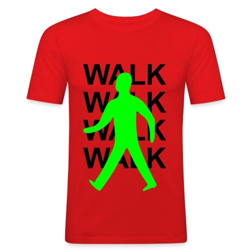 GUYS Green man walk! - BLACK TEXT - Men's Slim Fit T-Shirt