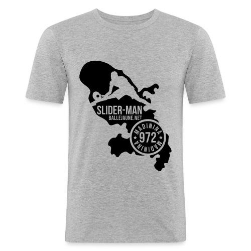 SliderMan Madinina Blanc/Noir (flex1c) - T-shirt près du corps Homme