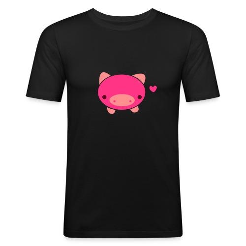 Piggie T-Shirt Brown Black - Men's Slim Fit T-Shirt