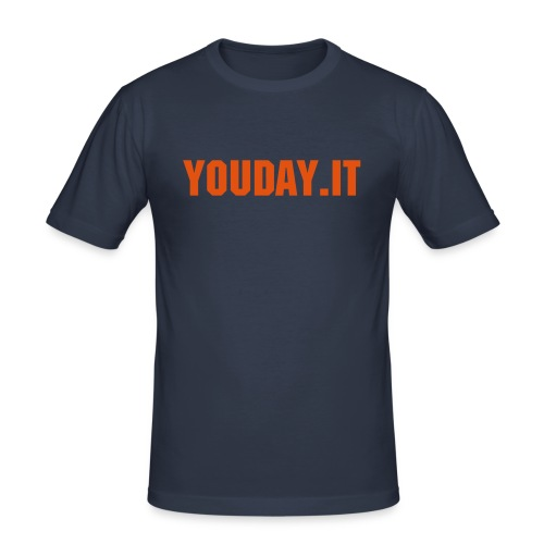 YouDay.it Classic Blu/Orange - Maglietta aderente da uomo