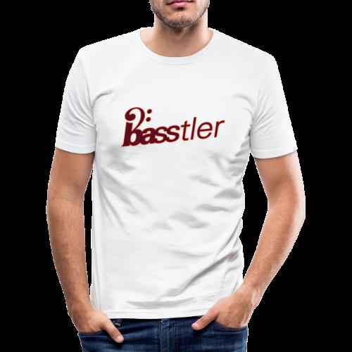 BASSTLER (Neon-Orange / Bourdeaux) - Männer Slim Fit T-Shirt