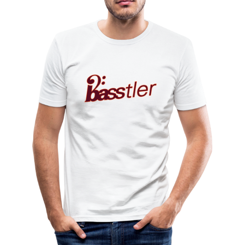 BASSTLER (Neon-Orange / Bourdeaux) - Männer Slim Fit T-Shirt