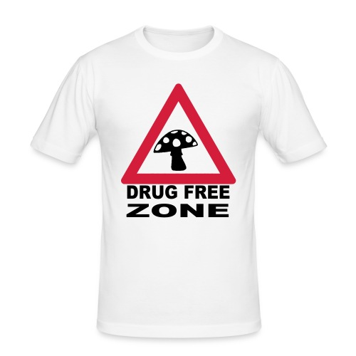 Drug Free Zone featuring a Magic Mushroom T-shirt - Men's Slim Fit T-Shirt