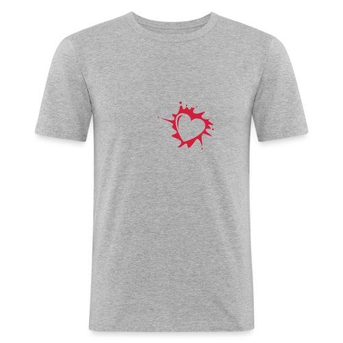 Explosion du coeur (rouge/gris) - T-shirt près du corps Homme