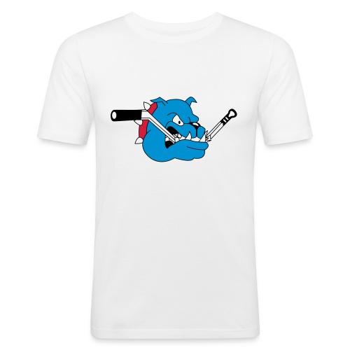 T-Shirt mit blauem Dog - Männer Slim Fit T-Shirt