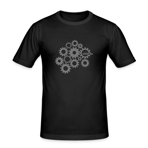 Männer Slim Fit T-Shirt - zahnräder,zahnrad,vicious,uhrwerk,uhr,technik,technic,pex,pattex,modern,mode,mechanik,gears,gear,clock