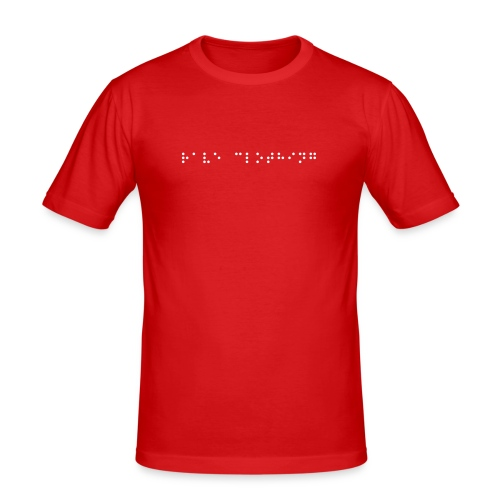 Red T-Shirt (White Text) - Men's Slim Fit T-Shirt