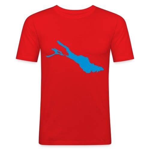 Bodensee Orange-T-Shirt Flexdruck - Männer Slim Fit T-Shirt