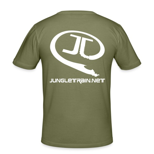 \o/ BOH! - Jungletrain.net (Olive) - Men's Slim Fit T-Shirt