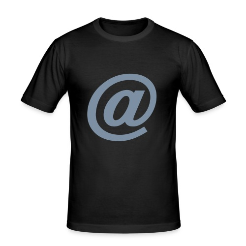 "Men's Slim Fit T-Shirt - The ""at"" symbol printed in a matt silver ""flex"" print on a black t-shirt."