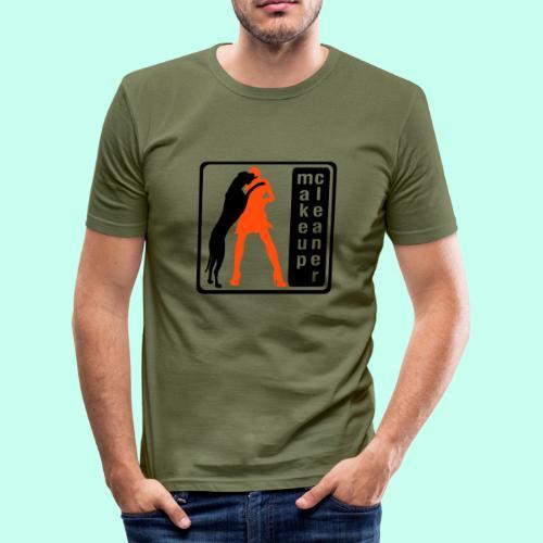 Makeupcleaner schwarz orange - Männer Slim Fit T-Shirt