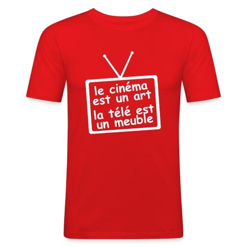 """T-shirt """"la télé est un meuble"""" - T-shirt près du corps Homme"""