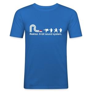 8-bit Karate Blue / White T - Men's Slim Fit T-Shirt