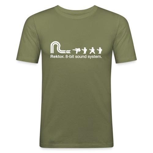 8-bit Karate Brown / White T - Men's Slim Fit T-Shirt