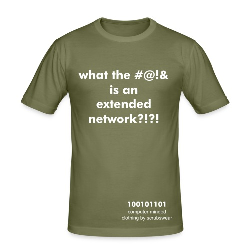 'what the #@!& is an extended network?!?!' - brown slim fit - Men's Slim Fit T-Shirt