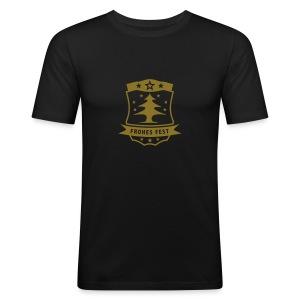Frohes Fest Wappen T-Shirt - Männer Slim Fit T-Shirt
