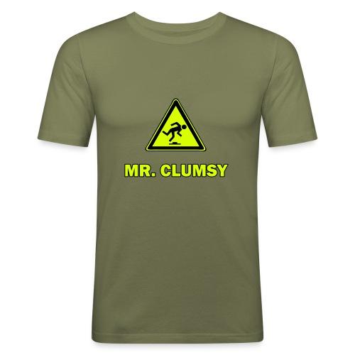 Mr. Clumsy - braun - bleu - Männer Slim Fit T-Shirt