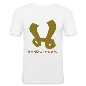 """T-Shirt """"Hando-Music"""" (weiß/gold) - Männer Slim Fit T-Shirt"""