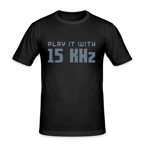 Play it with 15KHz (silver) - Men's Slim Fit T-Shirt