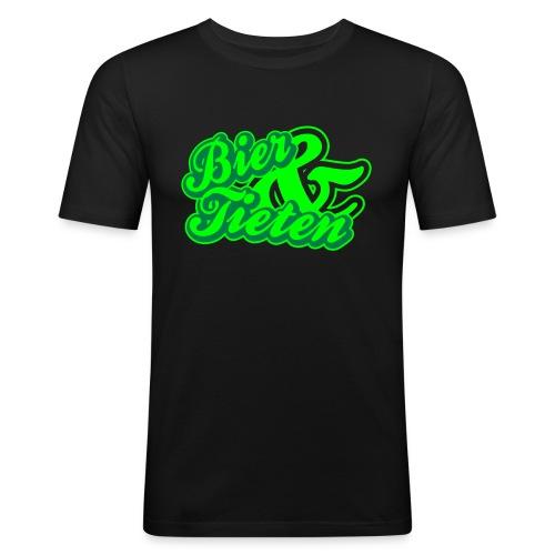 Bier & Tieten, groen en neongroen flex - slim fit T-shirt