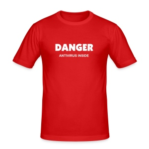 """DANGER Antivirus Inside"" - Men's Slim Fit T-Shirt"