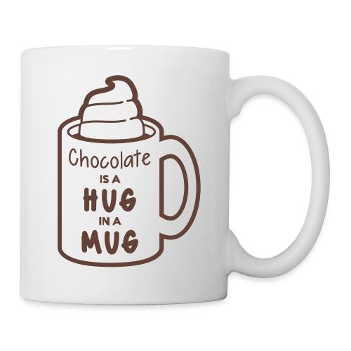 »A Hug in a Mug« Tasse – Braun auf Weiß - Tasse