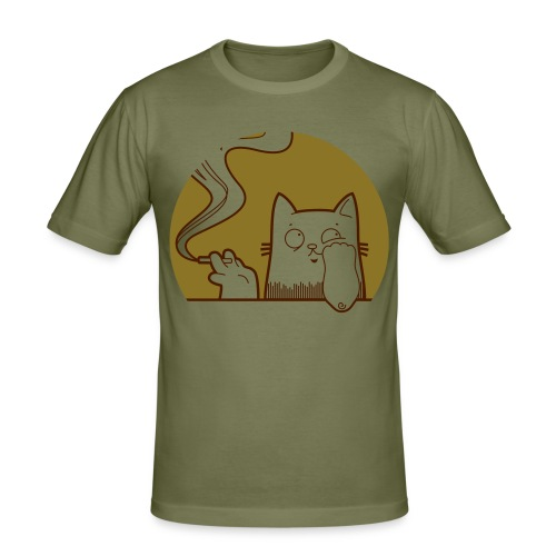 sadcat with cigarette - Männer Slim Fit T-Shirt