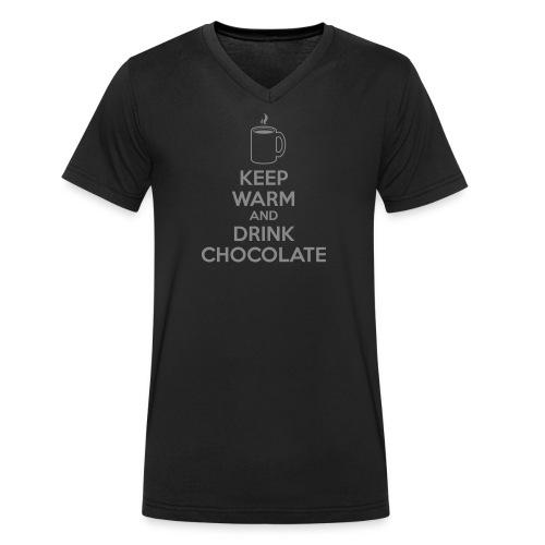 »Keep Warm« Bio-Herren-Shirt – Silberglitzer auf Schwarz - Männer Bio-T-Shirt mit V-Ausschnitt von Stanley & Stella