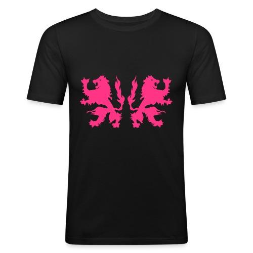 Double Lions - Neonpink - Men's Slim Fit T-Shirt