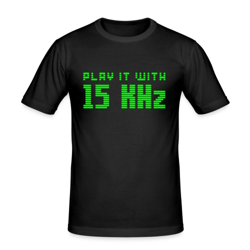 Play it with 15KHz (neon) - Men's Slim Fit T-Shirt