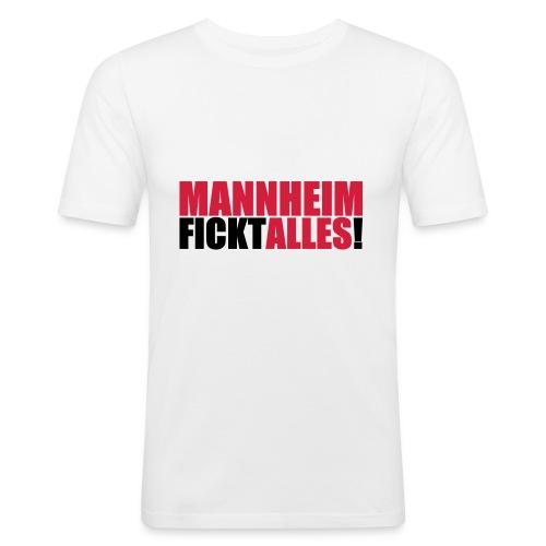 Shirt 'Mannheim fickt alles!'' - weiss - Männer Slim Fit T-Shirt