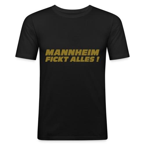 Shirt 'Mannheim fickt alles!'' - schwarz - Männer Slim Fit T-Shirt