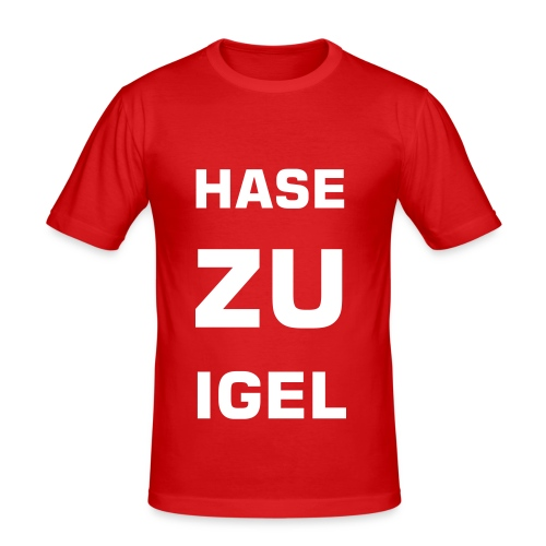hase zu igel 3 rows large font square - Männer Slim Fit T-Shirt