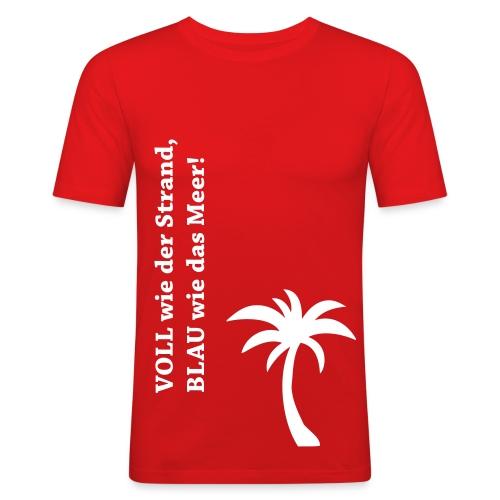 VOLL wie der Strand, BLAU wie das Meer!, Slim-Fit - Männer Slim Fit T-Shirt