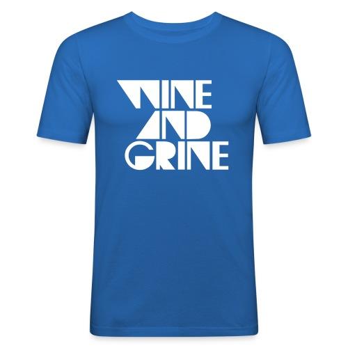 Wine & Grine White Logo Tee - Men's Slim Fit T-Shirt