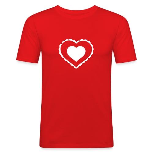 T-shirt coeur love - T-shirt près du corps Homme